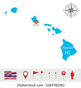 Hawaii Vector Map Isolated on White Background. High Detailed Silhouette of Hawaii State. Vector Flag of Hawaii. 3D Map Markers or Pointers, Navigation Elements. Rose of Wind or Compass Icon