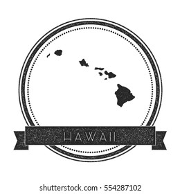 Hawaii vector map stamp. Retro distressed insignia with Hawaii map. Hipster round rubber stamp with Hawaii island text banner, island map vector illustration.