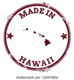 Hawaii vector seal. Vintage island map stamp. Grunge rubber stamp with Made in Hawaii text and island map, vector illustration.