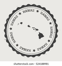Hawaii vector sticker. Hipster round rubber stamp with island map. Vintage passport stamp with circular Hawaii text and stars, vector illustration.