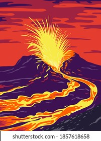 Hawaii Volcanoes National Park with active Kīlauea volcano United States WPA Poster Art Color