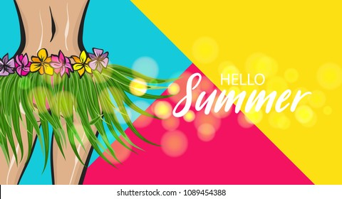 Hawaii woman pop art style retro poster. Hello summer vacation tropical banner. Comic text halftone vector. Wow female body booty in bikini. Hibiscus flover hula dancer. Palm tree leaf.