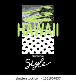 Hawaii, words design, with brush, white and green, t-shirt design, screen printing, black cloth.