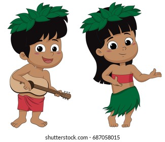 Hawaiian boy playing ukelele and girl hula dancing.vector and illustration.