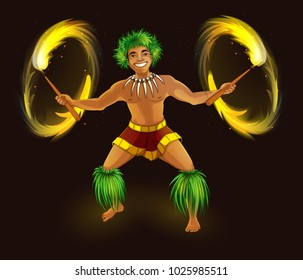 Hawaiian dancer with fiery torches in traditional national dress. Hula Dance and Fire Show. Holidays in the Hawaiian Islands. Vector illustration. Character in the cartoon style.