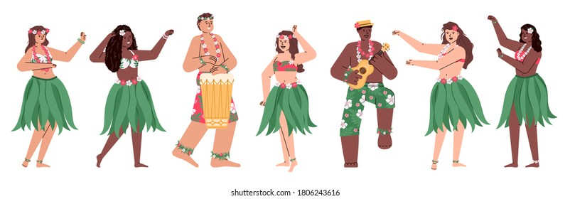 Hawaiian dancers men and women in folk costumes dancing and playing music, cartoon vector illustration isolated on white background. Characters set for Hawaiian party.