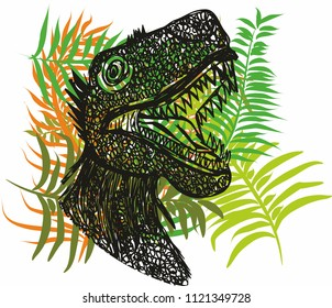 Hawaiian dinosaur graphic design vector art