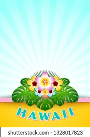 Hawaiian document background in Polynesian style with floral decoration.