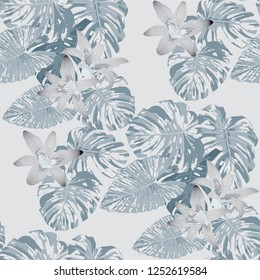 Hawaiian Flowers. Seamless Pattern with Indian Jungle. Modern Colorful Texture with Tropical Leaves and Flowers for Dress, Curtain, Paper. Vector Seamless Background.