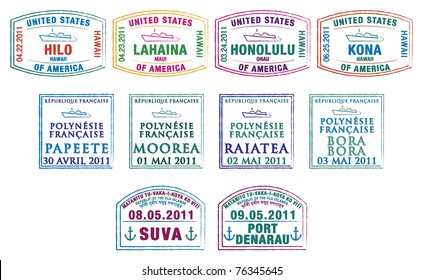 Hawaiian, French Polynesian and Fijian passport stamps in vector format.