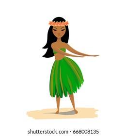 Hawaiian girl dancing hula isolated on white background. Cute polynesian dancer in costume and flower hair wreath.
