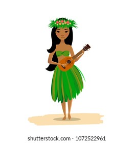Hawaiian girl dancing hula with ukulele in hands isolated on white background. Cute polynesian dancer in costume, flower hair wreath and hawaiian guitar.