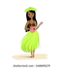 Hawaiian girl dancing hula with ukulele in hands isolated on white background. Cute polynesian dancer in costume, flower hair wreath and hawaiian guitar.