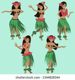 hawaiian girls dancing hula vector image