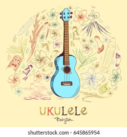 Hawaiian guitar - ukulele baryton in round shape pattern in engraved style. Blue ukulele is in the center of composition and pattern elements are around. Signed with lettering.