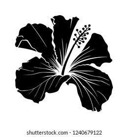 Hawaiian Hibiscus Laser Cut Vector Silhouette. Fragrance Flower. Mallow Chenese Rose. Black and White Flora. Isolated Botany Plant with Petals. Tropical Karkade or Bissap Herbal Tea, Crimson Blossom