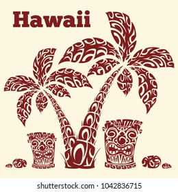 Hawaiian illustration with palm trees, totem totake and sea stones in the form of traditional Polynesian patterns. Vector illustration on a color paper background, red pattern. Retro.