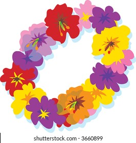 Hawaiian lei with big colorful hibiscus flowers