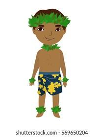 Hawaiian man in traditional costume. Cartoon style