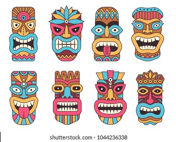 Hawaiian mask of tiki god. Wooden african sculpture. Tribal african wooden, totem of tiki, sculpture polynesian and mask hawaiian. Vector illustration