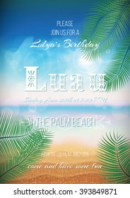 Hawaiian party, Luau feast poster, flyer, invitation template with sunny beach, sea, clouds, palms.
