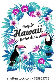 Hawaiian party poster. Vector illustration of tropical birds, flowers, leaves.