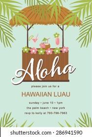 Hawaiian Party Template Invitation