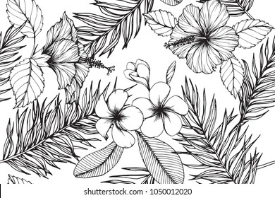 Hawaiian pattern seamless background with Plumeria, Hibiscus flower and leaf  drawing illustration.