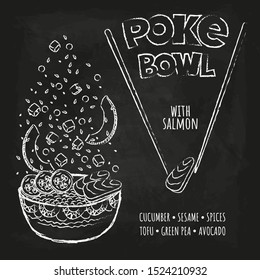 Hawaiian Poke Tuna Bowl with greens and vegetables. Menu design, copy space background. Vector illustration eps 10