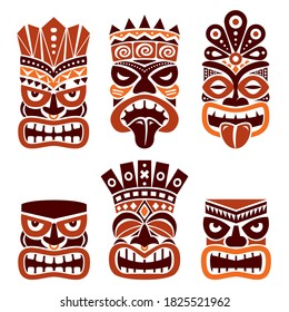 Hawaiian and Polynesia Tiki head totem vector design set- tribal folk art in brown on white background. Native tiki statue illustration from Hawaii and Polynesia, gods faces with crowns