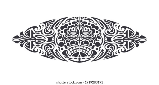 Hawaiian or Polynesian style tattoos. Good for the back or chest. Mask of the gods. Traditional tribal ornament. Handmade. Vector illustration.