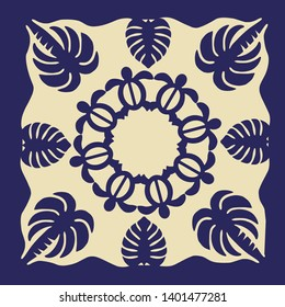 Hawaiian quilt illustration (blue), leaf, palm tree, monstera, background, fabric, textile, summer image