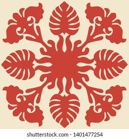 Hawaiian quilt illustration (red), background, fabric, textile, summer image