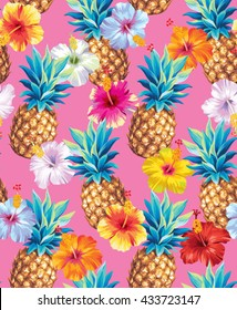 Hawaiian seamless pattern with pineapples and hibiscus flowers. Vector illustration.