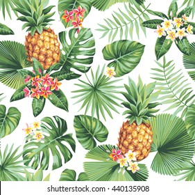 Hawaiian seamless pattern with pineapples, tropical palm leaves and flowers. Vector illustration.