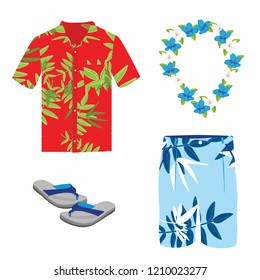 Hawaiian shirt, beach summer shorts, flower necklace and flip flops. Vector flat cartoon set of clothes isolated on white background.