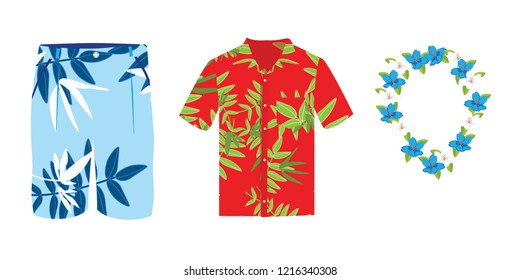 Hawaiian shirt, beach summer shorts and flower necklace. Vector flat cartoon set of clothes isolated on white background.