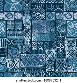 Hawaiian style blue tapa tribal fabric abstract patchwork vintage vector pattern