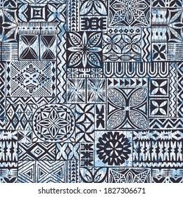 Hawaiian style tapa cloth motifs tribal fabric vintage vector seamless pattern
