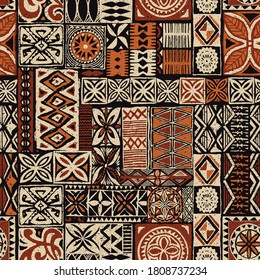 Hawaiian style tapa tribal fabric abstract patchwork vintage vector pattern