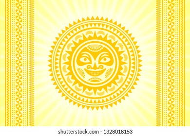 Hawaiian Sun sign in Polynesian style with traditional decorative ornaments and rays on yellow background.
