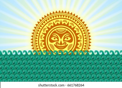 Hawaiian Sun sign in Polynesian style with sea waves and rays on blue background.