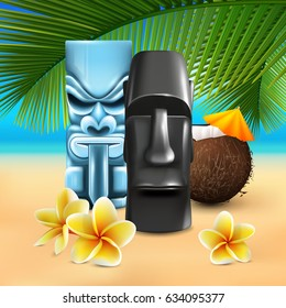 Hawaiian sunny beach illustration with cumbersome coconut and tin god images on colorful sandy seashore background vector illustration