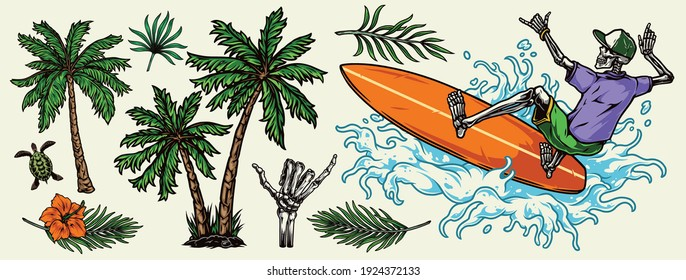 Hawaiian and surfing colorful elements concept with palm trees tropical leaves hibiscus flower turtle skeleton surfer riding wave and showing shaka sign isolated vector illustration