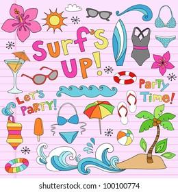 Hawaiian Surf's Up Summer Psychedelic Groovy Notebook Doodle Design Elements Set on Pink Lined Sketchbook Paper Background- Vector Illustration