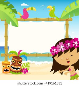 Hawaiian Template With Hula Dancer