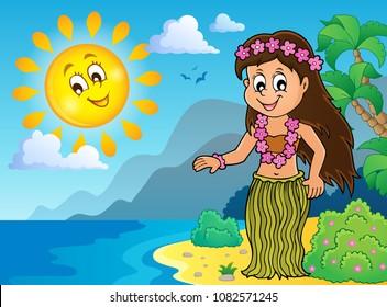 Hawaiian theme dancer image 3 - eps10 vector illustration.