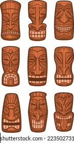Hawaiian tiki god statue carved polynesian wood vector illustration.
