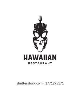 hawaiian tiki mask with fork for hawai food or restaurant logo