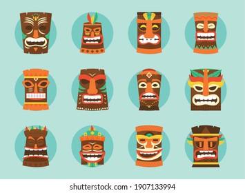 hawaiian tiki masks icon set over blue background, colorful design, vector illustration